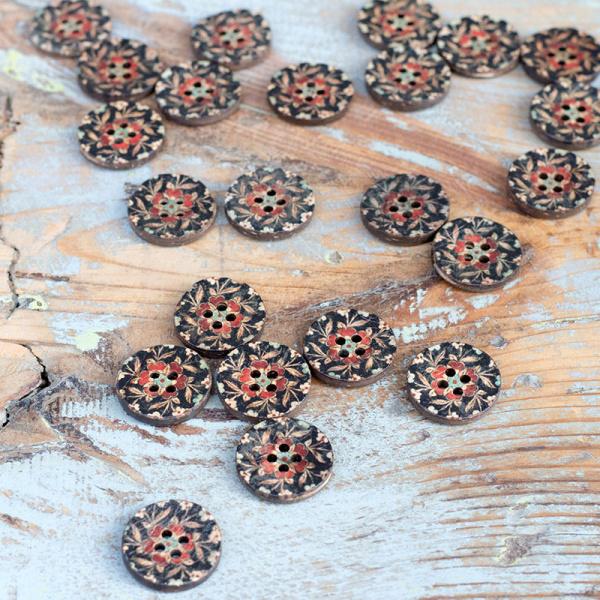 Knopf Cocos bedruckt mit Blume, schwarz-rot