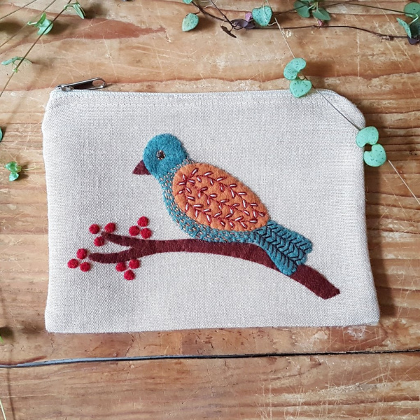 Corinne Lapierre Stick-Kit Tasche mit Vögelchen